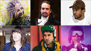 Clockwise from upper left: Bjork, Torres, Kendrick Lamar, Missy Elliott, Courtney Barnett, Lin-Manuel Miranda in the Hamilton musical, Sufjan Stevens