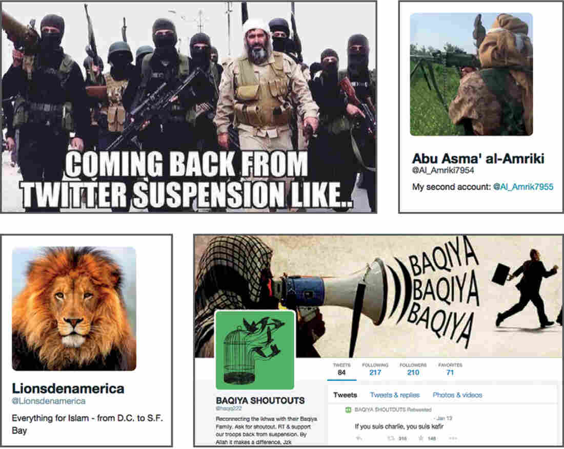 An image from the report ISIS in America: From Retweets to Raqqa shows, clockwise from top, a suspended Twitter user announcing their new account, and examples of other Twitter accounts that help spread extremist information online.