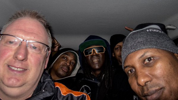 Photographer Kevin Wells, 50, drove Flavor Flav, Chuck D and their entourage to a show in his Ford Focus. (Kevin Wells/Twitter)