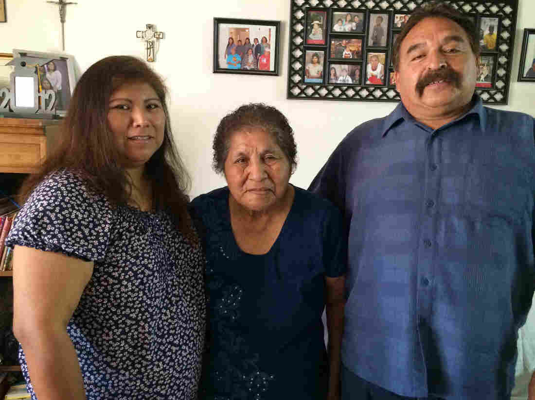 Delma and Antonio Salazar have been caring for Delma's mother, Agnes Williams (middle), who has severe memory problems, for the past seven years.