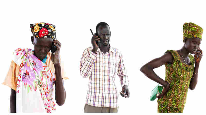 Calling relatives they hadn't spoken to since 2013: from left to right, Chol Lul Walou, approximately 60, called her daughter and son-in-law; Simon Lam Yiek, 33, called his brother; Nyanchan Maluol Mot, 19, called her sister.