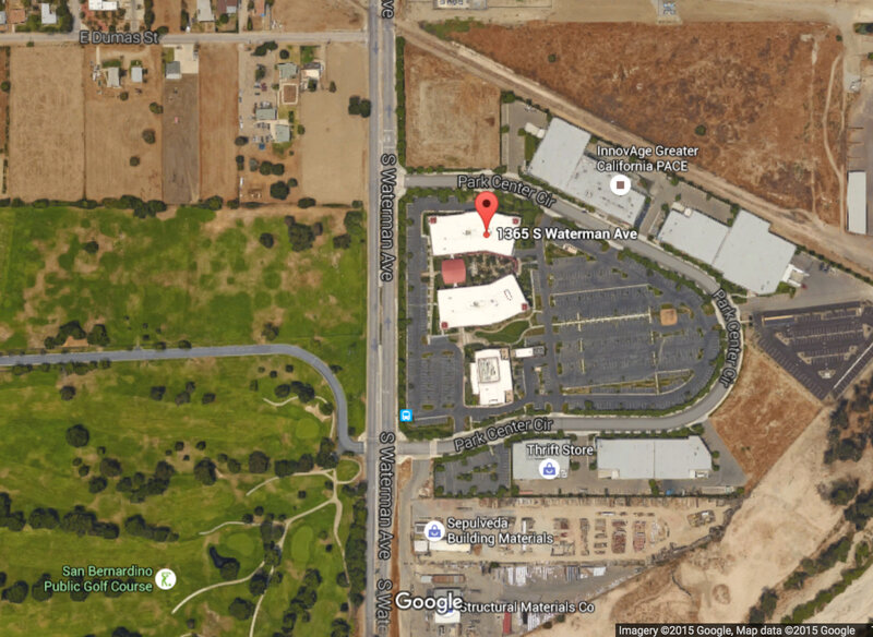 A satellite view of the Inland Regional Center in San Bernardino, Calif.