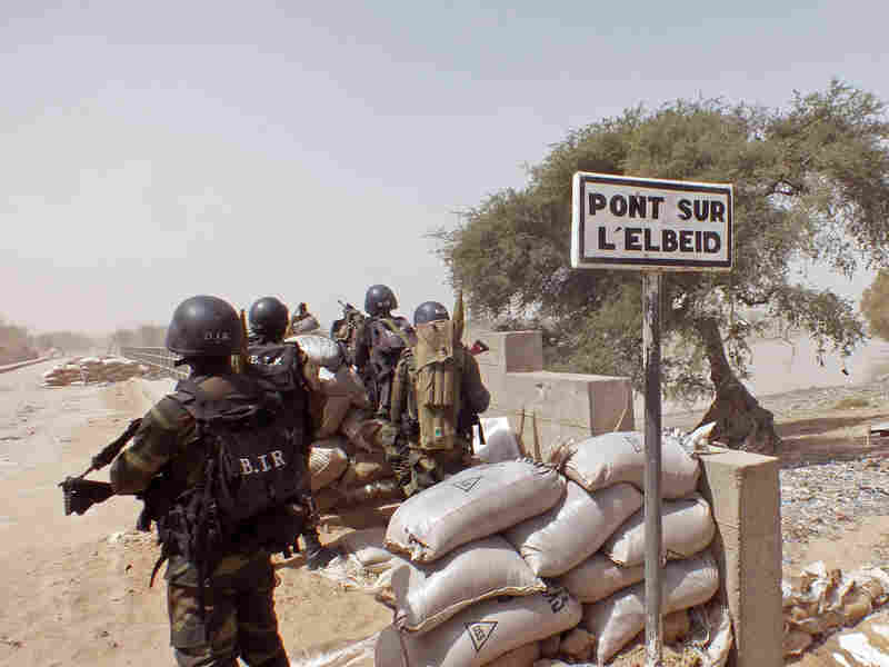 Cameroonian soldiers stand guard at a lookout post on Feb. 25 as they take part in operations against the Islamist extremist group Boko Haram in northern Cameroon, near the border with Nigeria.