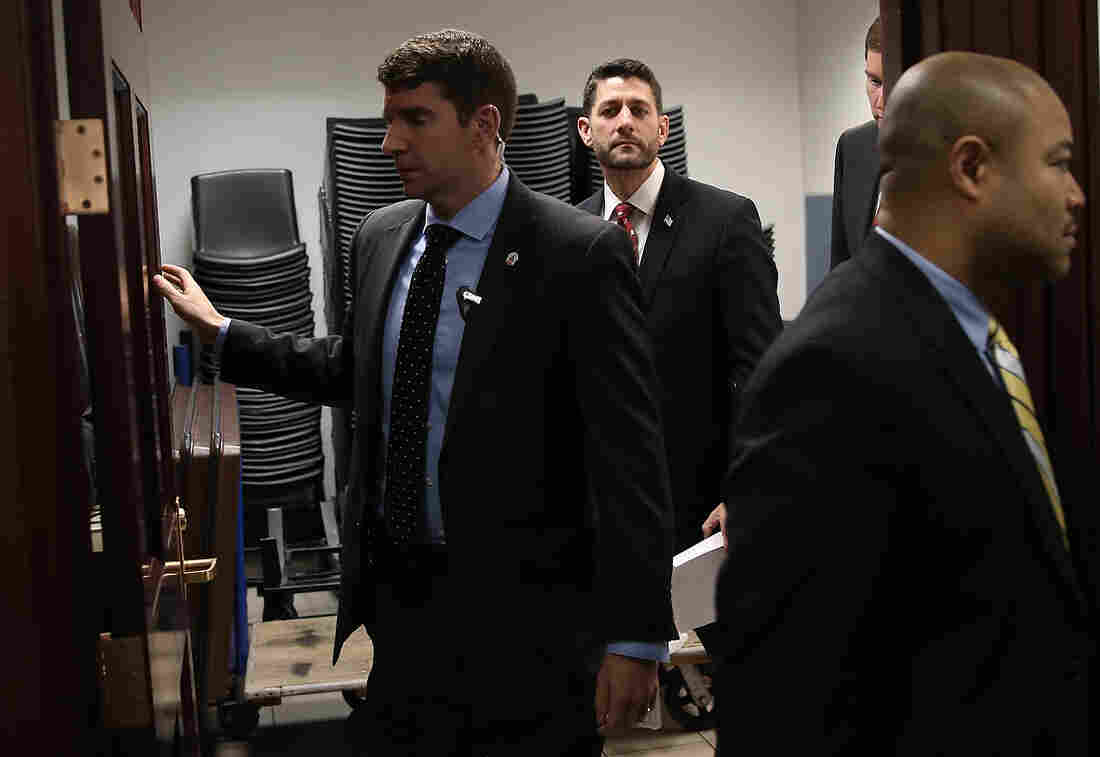 House Speaker Paul Ryan leaves a meeting of the House Republican conference at the U.S. Capitol. The House of Representatives is expected to vote soon on a rewrite of the No Child Left Behind Act.