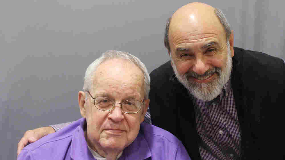 Elementary school principal Paul Nilsen, with John Graziano's father, Tom, on a recent visit with StoryCorps.