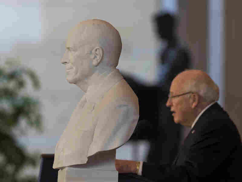 The bust of former Vice President Dick Cheney seen in the foreground ahead of Vice President Cheney in the U.S. Capitol Thursday.