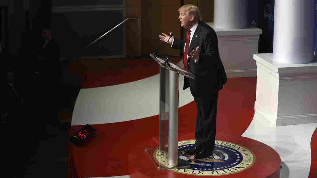 Republican presidential candidate Donald Trump at the Republican Jewish Coalition Presidential Forum on Thursday.