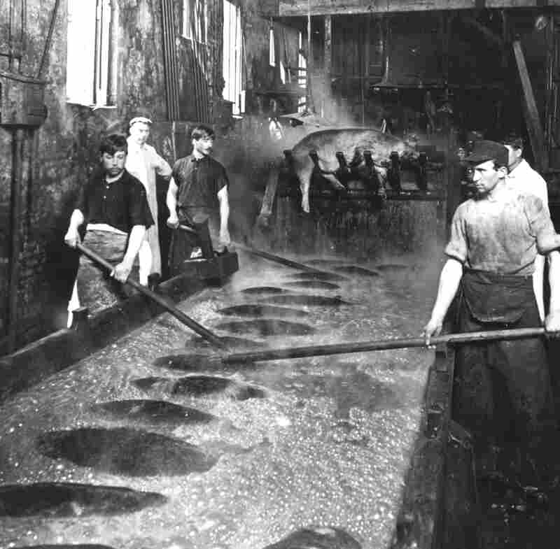 "Boiling vats used to prepare hogs for hair removal, circa 1890. Assembly line techniques, or ""disassembly"" line techniques, were used very effectively in Chicago's Union stockyards, says Slaughterhouse author Dominic Pacyga."