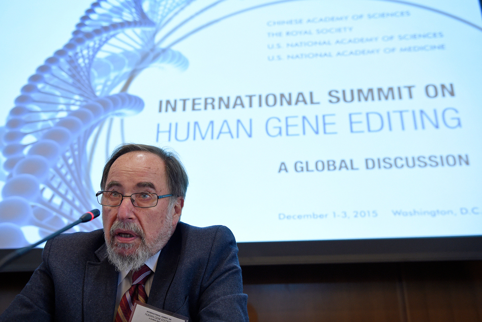 Nobel laureate David Baltimore of Caltech speaks to reporters at the National Academy of Sciences international summit on human gene editing, on Tuesday in Washington, D.C. Hundreds of scientists and ethicists from around the world debating how to deal with technology that makes it easy to edit the human genetic code. (Susan Walsh/AP)