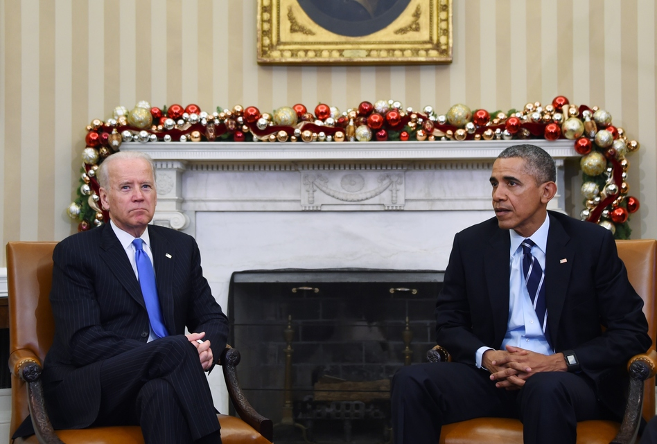 President Obama, joined by Vice President Joe Biden, delivers a statement at the White House about gun violence. Thursday's remarks come a day after at least 14 people were killed in a mass shooting in San Bernardino, Calif. (Jim Watson/AFP/Getty Images)
