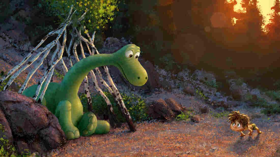 An Apatosaurus named Arlo meets a human boy on his adventures in The Good Dinosaur.