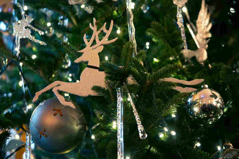 A detail of a Christmas tree in the East Room.