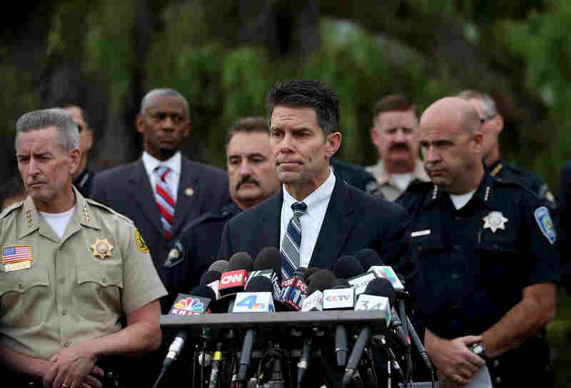 Federal Bureau of Investigation assistant director David Bowdich speaks during a news conference on Friday in San Bernardino, Calif. The FBI is officially investigating the attack carried out by Syed Farook and his wife Tashfeen Malik as an act of terrorism.