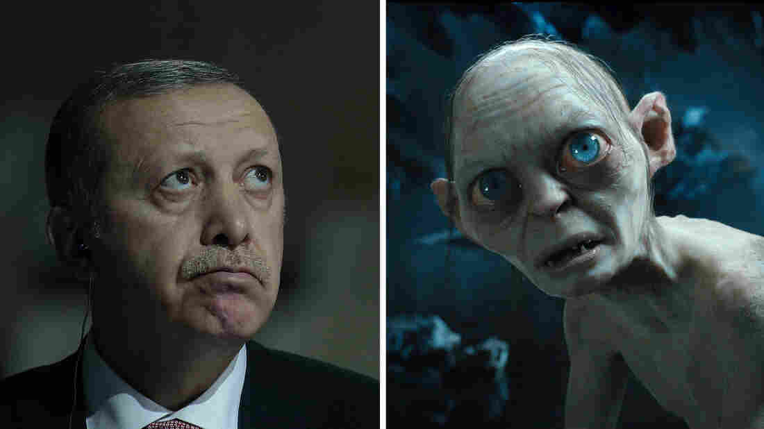 Left: Turkish President Recep Tayyip Erdogan attends the COP 21 United Nations conference on climate change, in France on Monday. Right: Gollum in the 2012 film Hobbit: An Unexpected Journey.