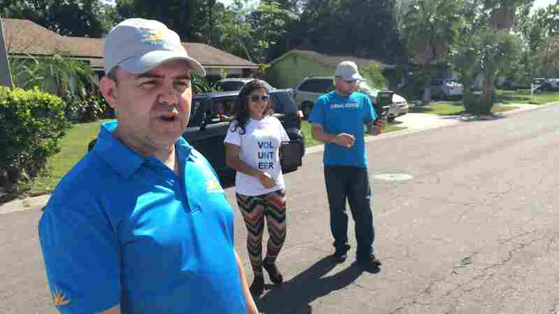 David Velazquez of the conservative LIBRE initiative said rather than pitching a particular candidate, his group is playing the long game — knocking on doors in Hispanic areas and offering services like English classes or financial literacy courses, while selling a message about the economy.