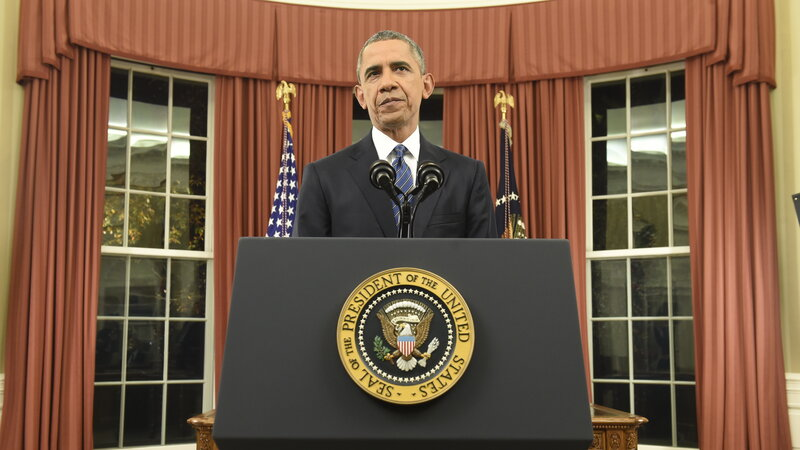 President Barack Obama addresses the country from the Oval Office on December 6, 2015, in Washington, D.C.
