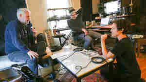 David Dye (left) interviews Polica's Ryan Olson (center) and Channy Leaneagh (right).