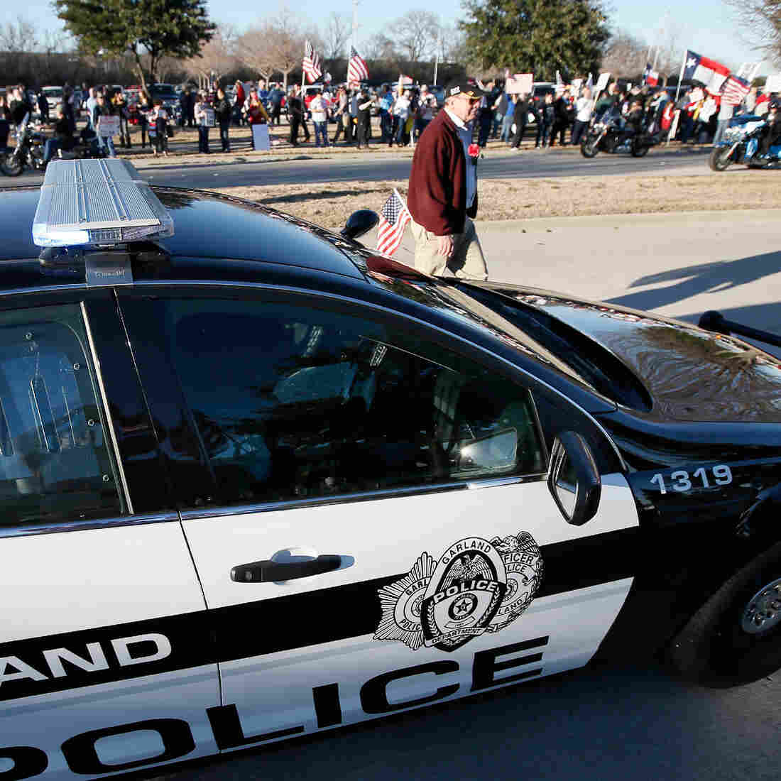 Nearly 1,000 protesters gather in January across the street from the Curtis Culwell Center in Garland, Texas, where a Muslim conference against hate and terrorism was scheduled to be held.