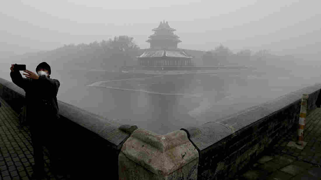 "A tourist takes a selfie near the Turret of the Forbidden City in Beijing. The city issued a ""red alert"" Monday over dangerous levels of air pollution."