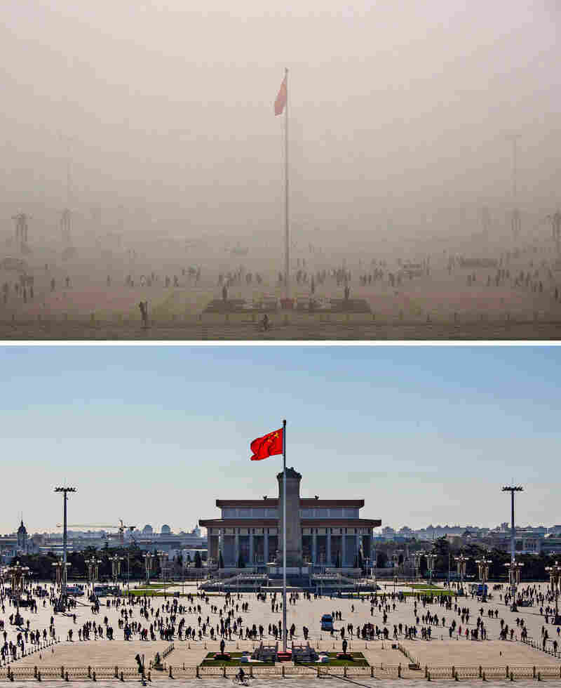 China's air pollution is legendary. Tiananmen Square, in Beijing, experienced what officials called its worst smog of the year on Dec. 1 (top), until a strong north wind dispersed the air pollution 24 hours later (bottom).