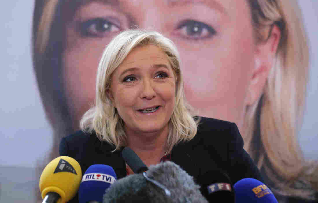 National Front party leader Marine Le Pen speaks during a news conference Monday in Lille, France, following Sunday's first-round voting in regional elections on Sunday.