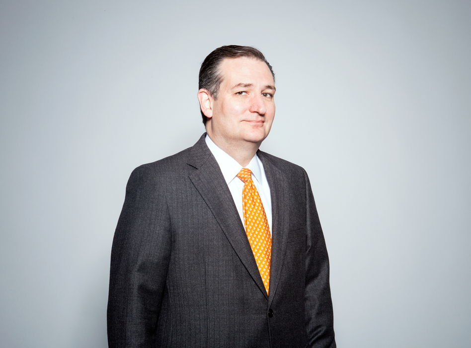Ted Cruz visited NPR headquarters on Tuesday to talk with Steve Inskeep about his plans for protecting the U.S. from terrorist attacks and his views on climate change. (Ariel Zambelich/NPR)