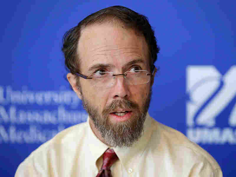 Ebola survivor Dr. Rick Sacra speaks to the media about his experience on Sept. 26, 2014, in Worcester, Mass.