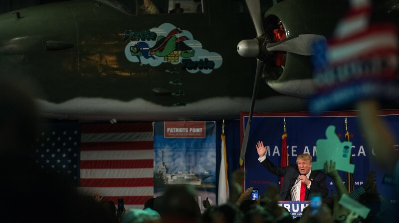 Donald Trump speaks to the crowd Monday at a Pearl Harbor Day rally at the USS Yorktown in Mount Pleasant, S.C.