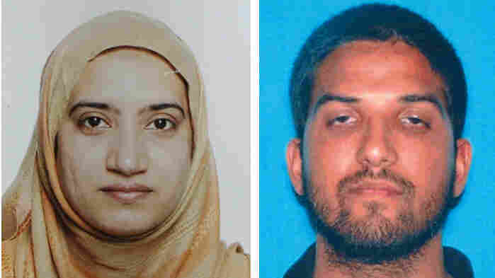 A photo provided by the FBI shows Tashfeen Malik (left) and a photo provided by California Department of Motor Vehicles shows Syed Farook, who attacked a holiday gathering of county workers in San Bernardino, Calif., last week.
