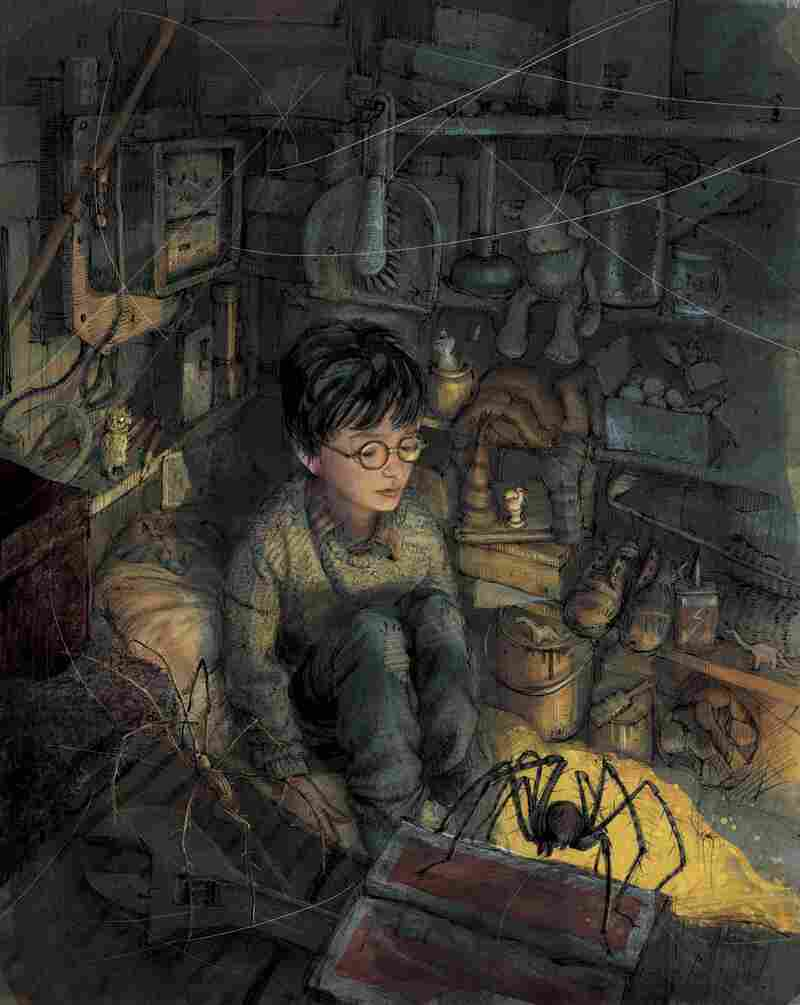 Harry Potter, crowded into the cupboard under the Dursleys' stairs.