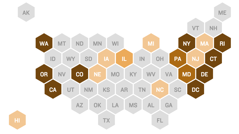 Map: States with universal background checks on gun purchases