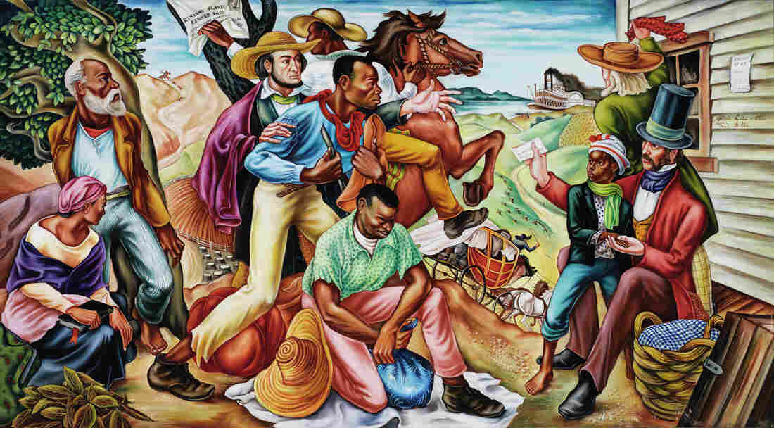 In his 1942 mural The Underground Railroad, Woodruff shows slaves about to cross the Ohio River to freedom.