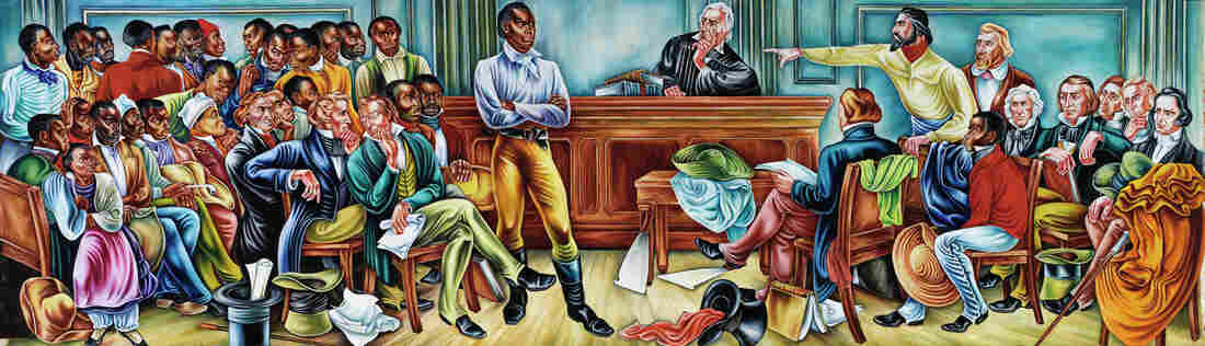 In this 1939 mural, Woodruff depicts the trial of the Africans aboard the Amistad.