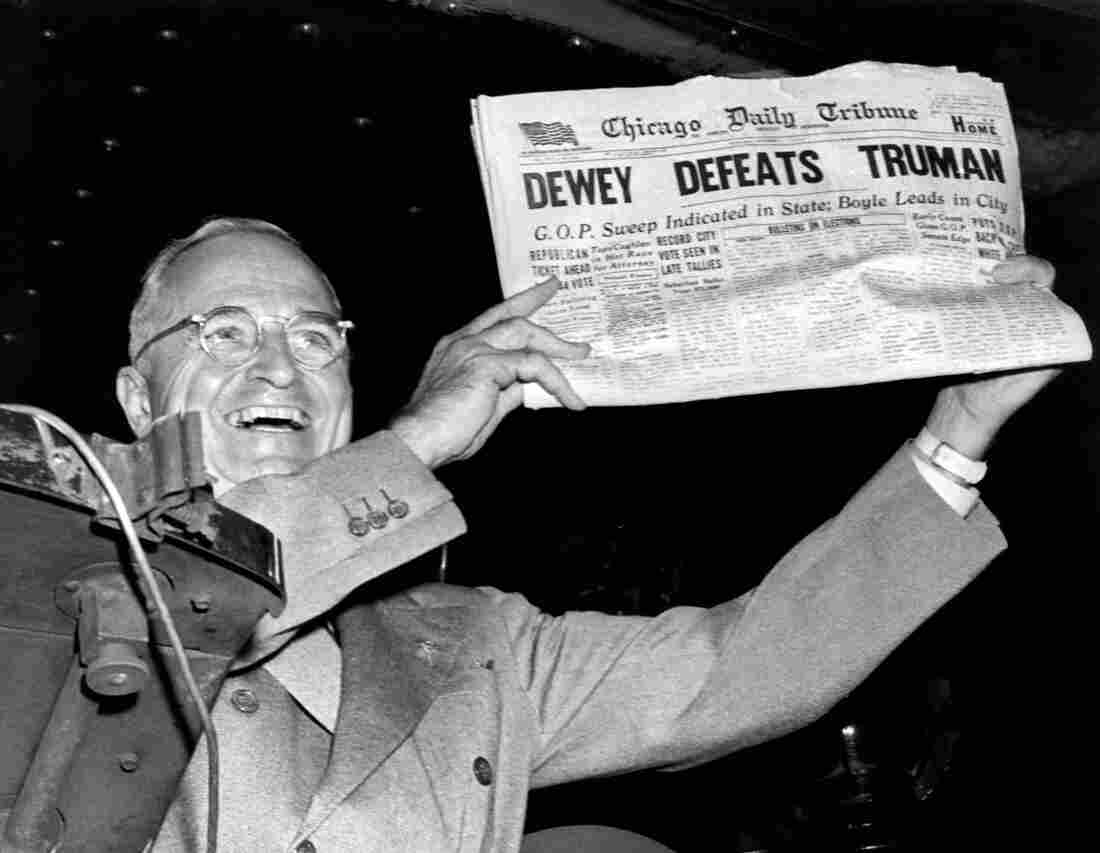 Jumping the gun: President Harry Truman holds up a copy of the Chicago Daily Tribune that erroneously declared his defeat by Thomas Dewey in the presidential election of 1948.