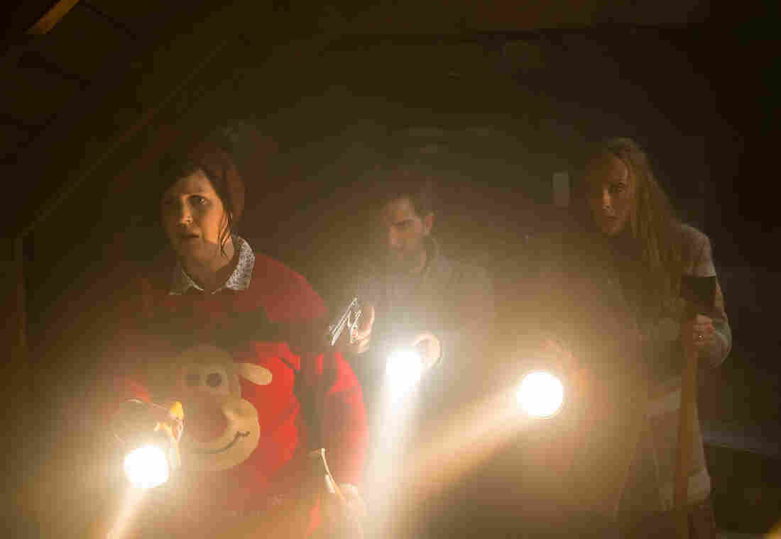 In Krampus a family is stalked by a horrible figure taken from German and Austrian mythology. Above, Allison Tolman from left, Adam Scott Toni Collette.
