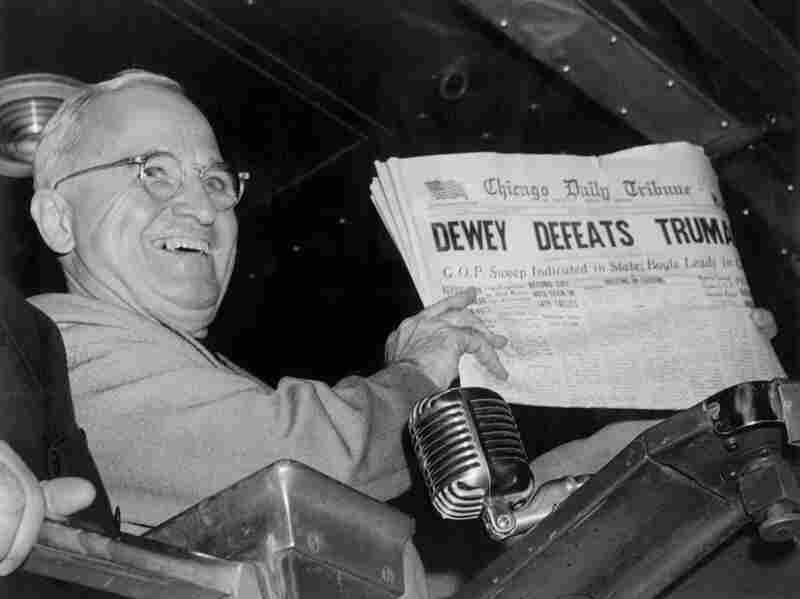 "Former President Harry Truman holds up an Election Day edition of the Chicago Daily Tribune, which, based on early results, mistakenly announced ""Dewey Defeats Truman"" on Nov. 4, 1948."