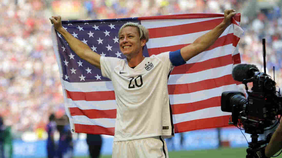 Abby Wambach celebrates the United States' 5-2 win over Japan in the 2015 FIFA Women's World Cup soccer championship.