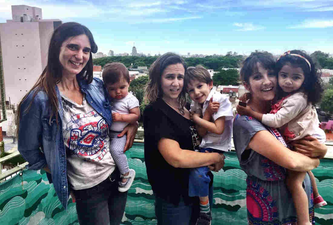 Maria Mercedes Vittar (from left), Paola Fiorita and Ana Zappella are all unmarried mothers in Buenos Aries who often spend time together. In Argentina and most other Latin American countries, well over half of all babies are now born to unwed mothers.