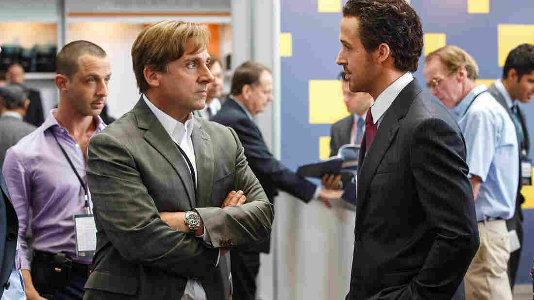 "Steve Carell plays Mark Baum and Ryan Gosling plays Jared Vennett in The Big Short. Director Adam McKay says, ""One of my favorite moments in the movie is where you see ... Mark Baum make a large chunk of money and feel absolutely disgusted by it."""