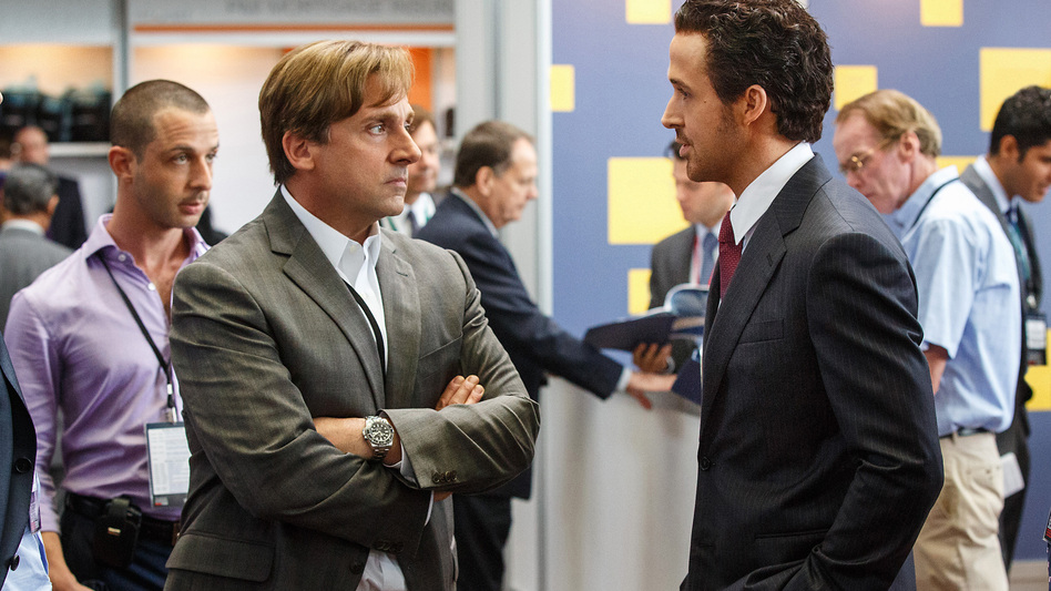 "Steve Carell plays Mark Baum and Ryan Gosling plays Jared Vennett in <em>The Big Short</em>. Director Adam McKay says, ""One of my favorite moments in the movie is where you see ... Mark Baum make a large chunk of money and feel absolutely disgusted by it."""