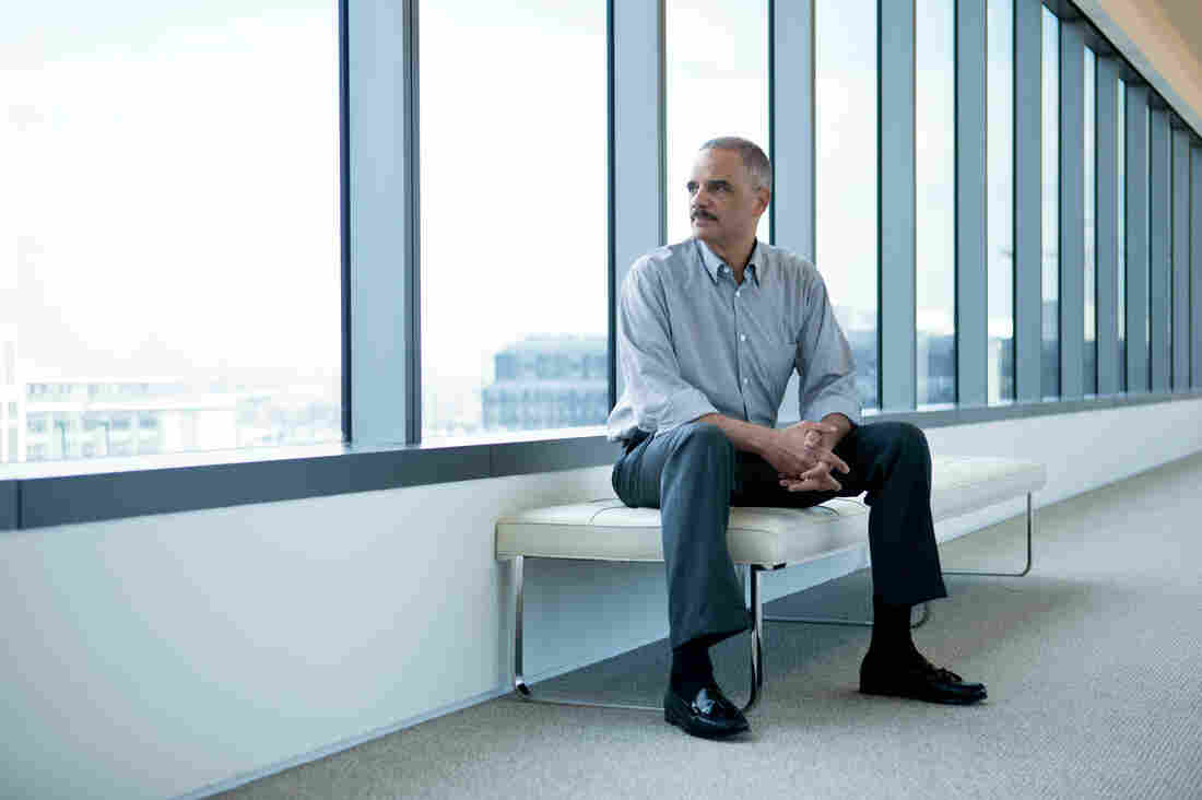 Former Attorney General Eric Holder poses for a portrait at CityCenterDC on Friday.