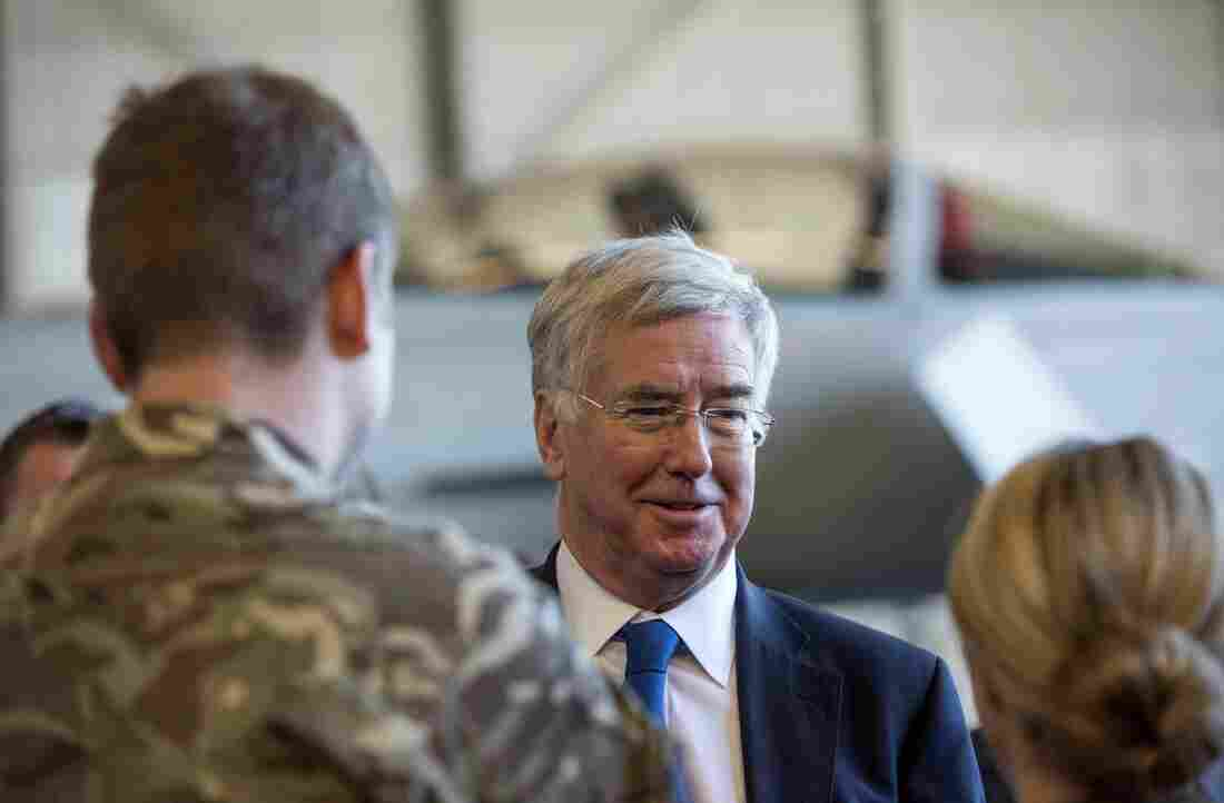 Michael Fallon, British secretary of state for defense, talks to forces at a British air base in Cyprus on Dec. 5, days after a Parliament vote approving U.K. airstrikes against ISIS in Syria.