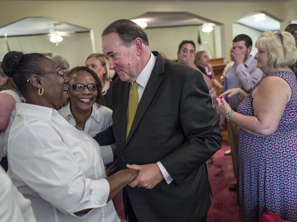 GOP presidential candidate and former Arkansas Governor Mike Huckabee courts the religious vote at the Rock Hill Missionary Baptist Church in Manning, South Carolina. (The Washington Post/The Washington Post/Getty Images)