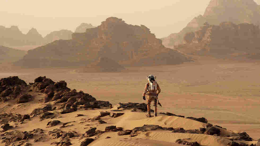 in The Martian, Matt Damon stars as an astronaut stranded on Mars who must use real-world science to survive his science fictional dilemma.