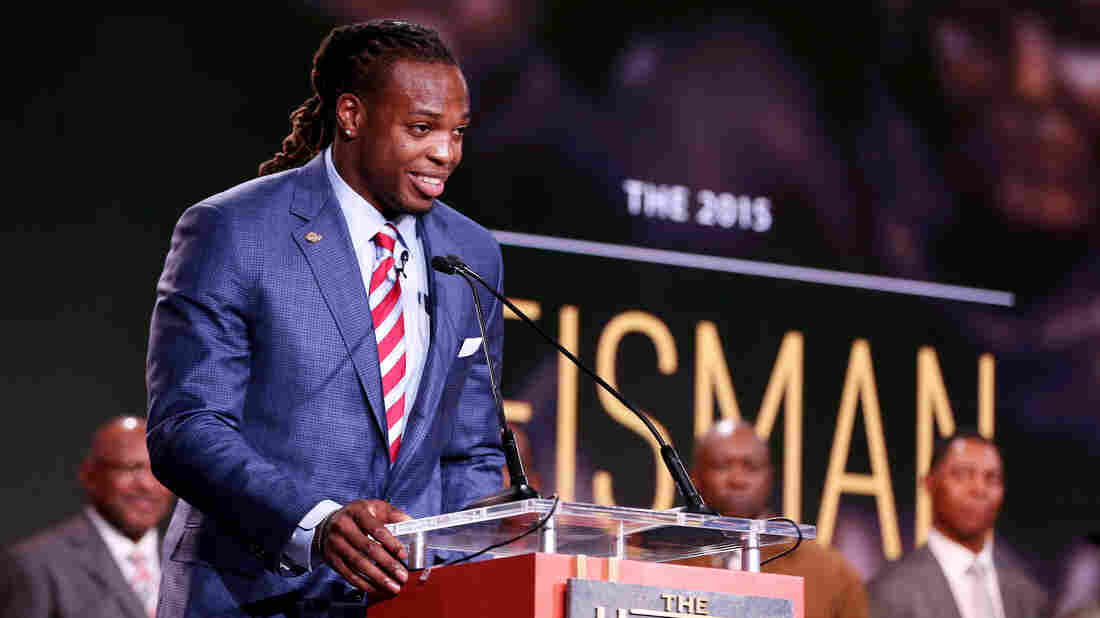 Running back Derrick Henry of the Alabama Crimson Tide speaks after being named the 81st Heisman Memorial Trophy Award winner Saturday in New York City.