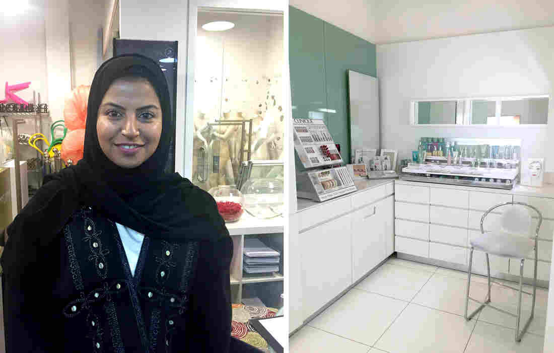 "May Saja (left), general manager of merchandising at the Harvey Nichols department store, says the election was ""just the beginning,"" but also that ""it's not easy to change the mindset of a whole country."" On the right: one of the private makeup rooms Princess Reema put into the store to make female customers more comfortable."