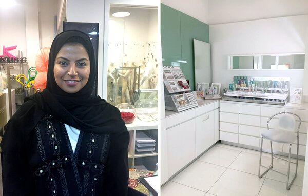 "May Saja, left, general manager of merchandising at Harvey Nichols, who says that the election was ""just the beginning,"" but also that ""it's not easy to change the mindset of a whole country."" On the right: one of the private makeup rooms Princess Reema put into the store to make female customers more comfortable. (Rachel Martin/NPR)"