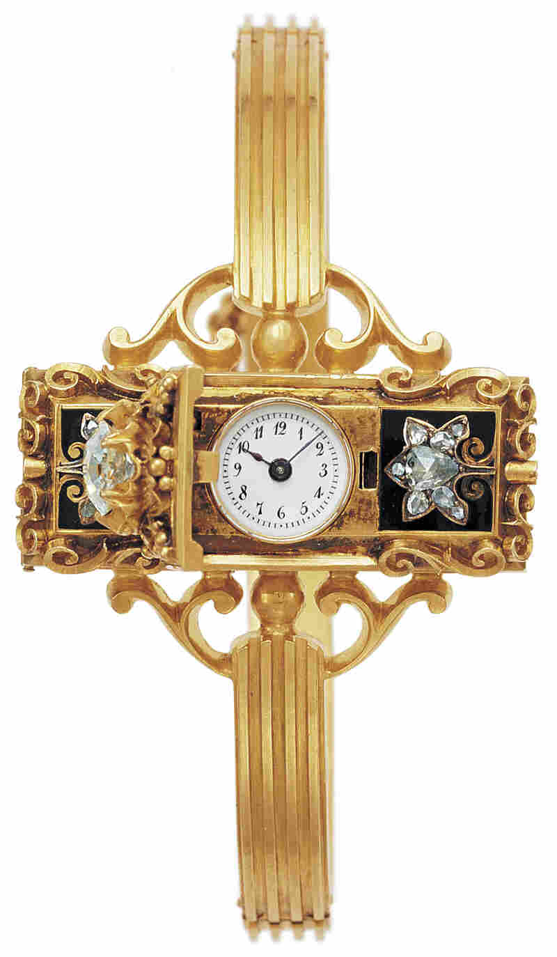 "According to Aja Raden, a Hungarian countess commissioned the first wristwatch from watchmaker Patek Philippe around 1868. ""[It] was a spectacularly expensive piece of jewelry,"" the author says."