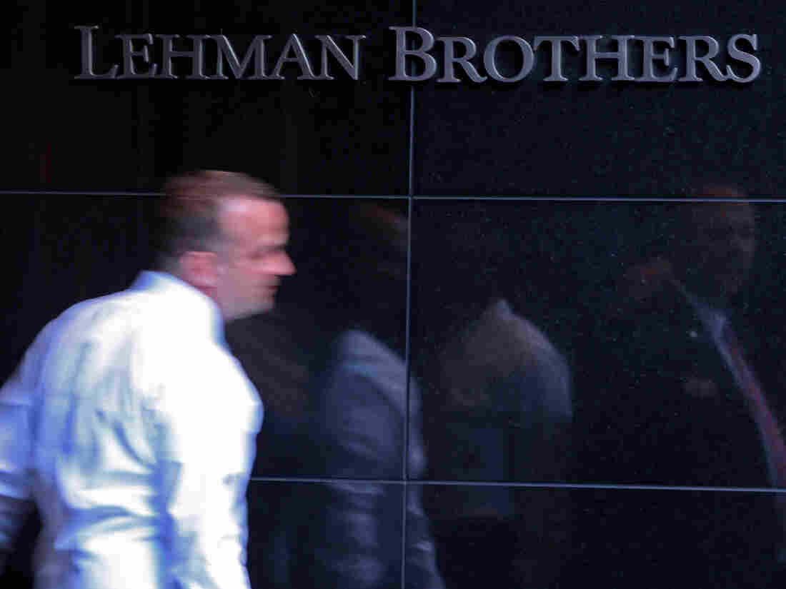 A Lehman Brothers employee leaves the company's building June 10, 2008, in New York.