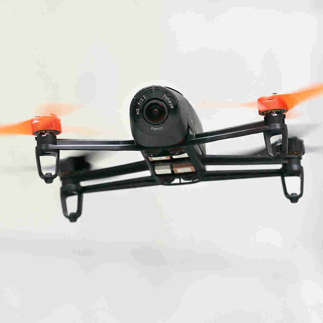A 'Parrot Bebop' drone, used to take images, flies during a demo in San Francisco.
